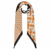 Burberry Monogram Print Cashmere Large Square Scarf - Orange