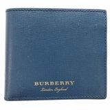 Burberry Pebbled Leather Bi-Fold Wallet - Blue