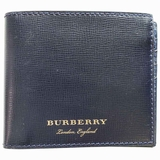 Burberry Pebbled Leather Bi-Fold Wallet - Navy