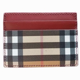 Burberry Sandon Vintage Check Card Case Wallet - Beige/Red
