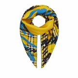 Burberry Silk Scribble Check Prink Scarf - Yelllow