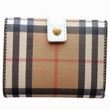 Burberry Small Vintage Check and Leather Folding Wallet - Beige