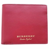 Burberry Smooth Leather Bi-Fold Wallet - Red