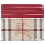 Burberry Vintage Check and Leather Two-Tone Card Case Wallet - Beige