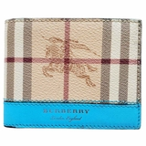 Burberry Vintage Check Two-Tone Leather Bi-Fold Wallet - Beige/Blue