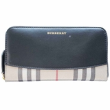 Burberry Vintage Check Two-Tone Zip-Around Wallet - Black