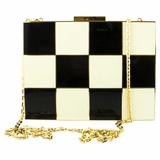 Canon Metal Clutch Bag - Black/White