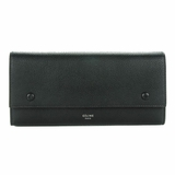 Celine Drummed Calfskin Large Multifunction Flap Wallet - Black