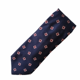 Corneliani 100% Silk Tie with Flowers - Dark Blue