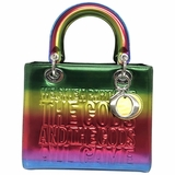 Dior Lady D Medium Limited Edition John Giorno Collab Rainbow Patent Leather Satchel