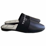 Givenchy Bedford Logo Leather Mule Slide Flat Shoes - Black