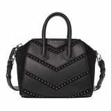 Givenchy Calfskin Suede Mini Studded Chevron Antigona - Black