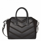 Givenchy Calfskin Suede Small Studded Chevron Antigona - Black