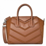 Givenchy Calfskin Suede Small Studded Chevron Antigona - Brown