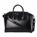 Givenchy Shiny Lord Calfskin Medium Antigona - Black