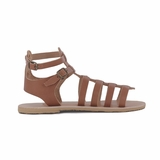 MAC&LOU Greek Leather Sandals 'Calliope' - Brown