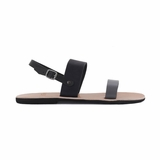 MAC&LOU Greek Leather Sandals 'Clio' - Black/Grey