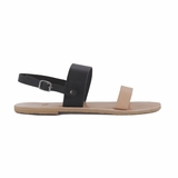 MAC&LOU Greek Leather Sandals 'Clio' - Black/Natural