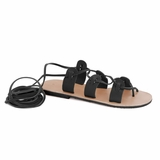 MAC&LOU Greek Leather Sandals 'Polyhymnia' - Black