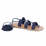 MAC&LOU Greek Leather Sandals 'Polyhymnia' - Blue