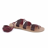MAC&LOU Greek Leather Sandals 'Polyhymnia' - Burgundy