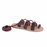 MAC&LOU Greek Leather Sandals 'Terpsichore' - Burgundy