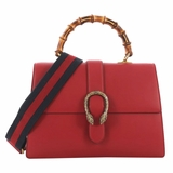 Gucci Dionysus Bamboo Top Leather Large Handle Bag - Red