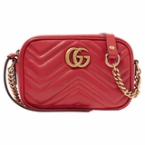 Gucci GG Marmont Camera Mini Shoulder Bag - Red