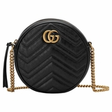 Gucci GG Marmont Mini Round Chevron Crossbody Bag - Black