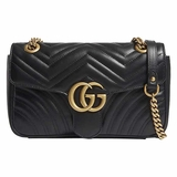 Gucci Marmont Leather Shoulder Bag - Black