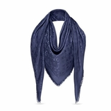 Louis Vuitton Silk Wool Monogram Shine Shawl - Night Blue