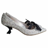 Miu Miu Argento Glitter Pumps with Black Satin Bow Heel Shoes - Silver