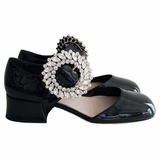 Miu Miu Mary Jane Leather Pumps with Crystals Heel Shoes - Black