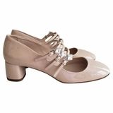Miu Miu Mary Jane Multiple Strap Cipria Nude Heel Shoes - Pink