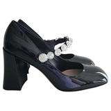 Miu Miu Mary Jane Patent Leather with Crystals Heel Shoes - Black