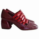 Miu Miu Mary Jane Pumps Leather Multiple Straps Heel Shoes - Red