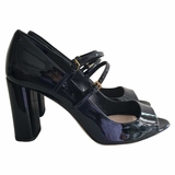 Miu Miu Mary Jane Pumps Patent Leather Bow Heel Shoes - Black Blue