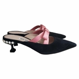 Miu Miu Mules with Satin Pink Bow Crystal Heel Shoes - Black