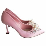 Miu Miu Pointed Toe Embellished Satin Pumps - Petalo Pink