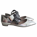 Miu Miu Pointed Toe Flat Ballerina Shoes - Metallic Silver