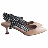 Miu Miu Pointed Toe Kitten Heel Shoes - Cipria Nude Beige