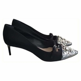 Miu Miu Satin and Plexiglass Pumps with Crystals Heel Shoes - Black