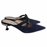 Miu Miu Suede Mules with Satin Black Bow Crystal Heel Shoes - Navy