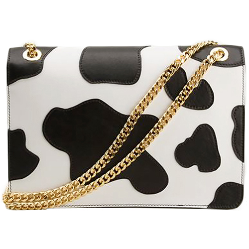 Moschino Cow Printed Gold Logo Leather Shoulder Bag Black