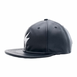 Rockertype Leather Baseball Hat Black/White
