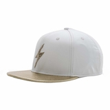 Rockertype Leather Baseball Hat White/Gold