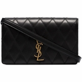 Saint Laurent Angie Quilted Leather Shoulder Bag - Black