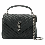 Saint Laurent College Medium Leather Shoulder Bag - Black