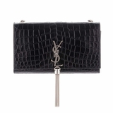 Saint Laurent Crocodile Embossed Calfskin Tassel Satchel - Black