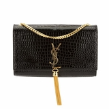 Saint Laurent Crocodile Embossed Leather Tassel Satchel - Black